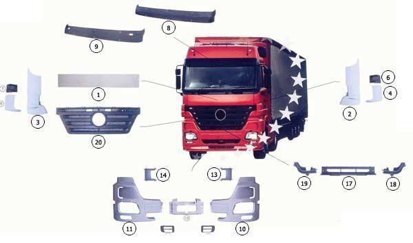 nieuw MERCEDES-BENZ 9437500009 MERCEDES motorkap voor MERCEDES-BENZ ACTROS MP2 vrachtwagen