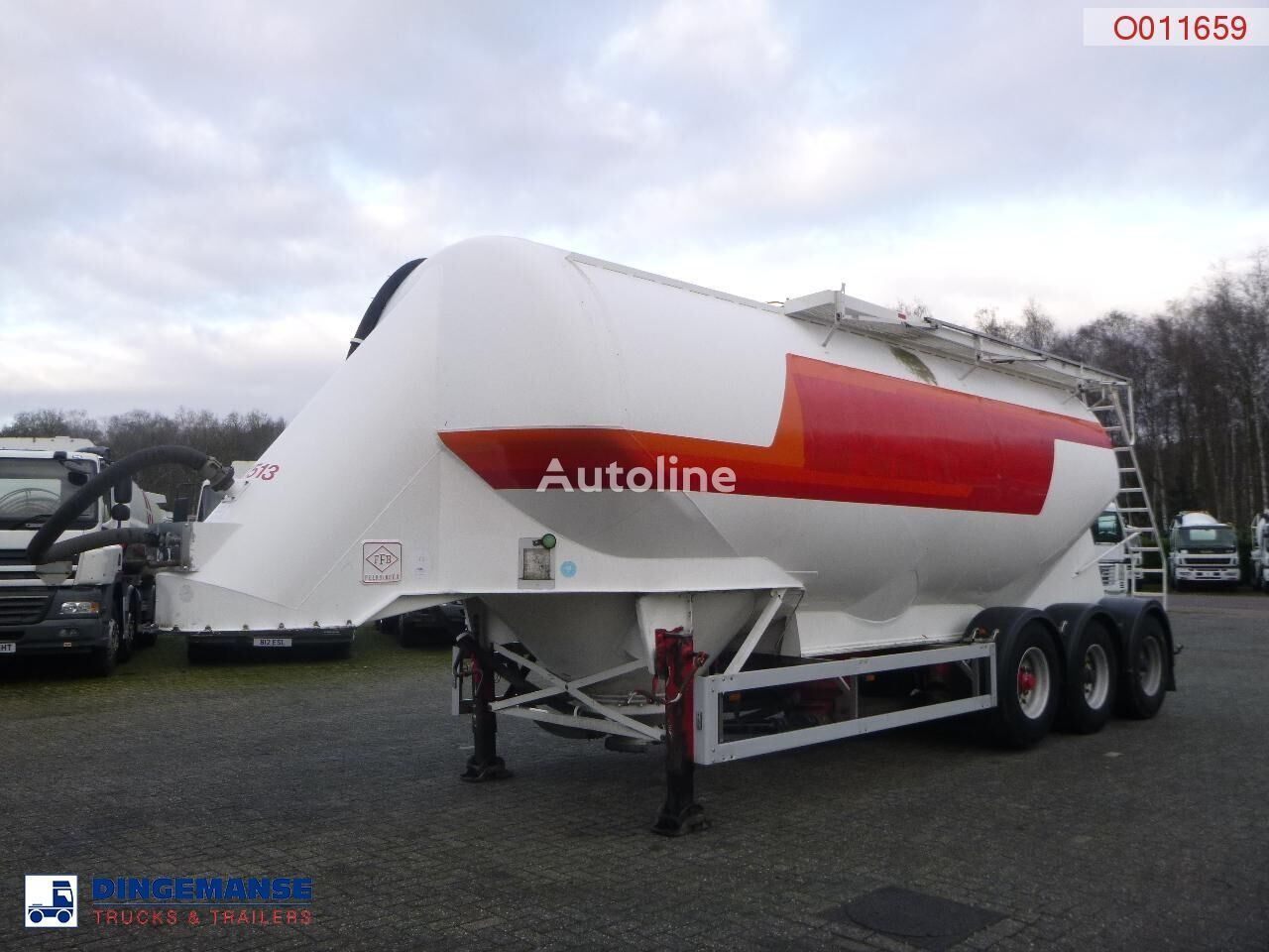 FELDBINDER Powder tank alu 38 m3 / 1 comp silo tankoplegger