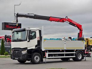 RENAULT C 380 / 4X2 / BOX - 5,6 M + CRANE/ RADIO CONTROL  open laadbak vrachtwagen