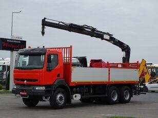 RENAULT KERAX 370 / 6X4 / BOX - 6,5 M + CRANE HIAB 144 / RADIO COMMANDE  open laadbak vrachtwagen