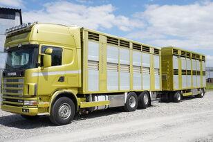 SCANIA R164 V8 , 6x2 , 2 hydraulic decks , 70m2 , live stock  veewagen vrachtwagen + vee aanhanger
